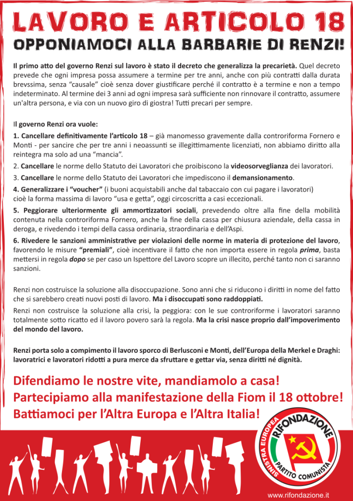 Volantino Renzi Lavoro 23-9