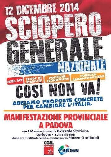 Sciopero generale. Manifestazione a Padova