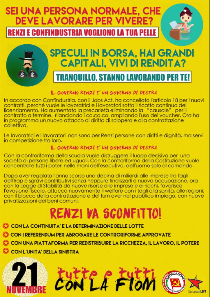 Renzi va sconfitto. Il 21 novembre, Tutti con la Fiom!