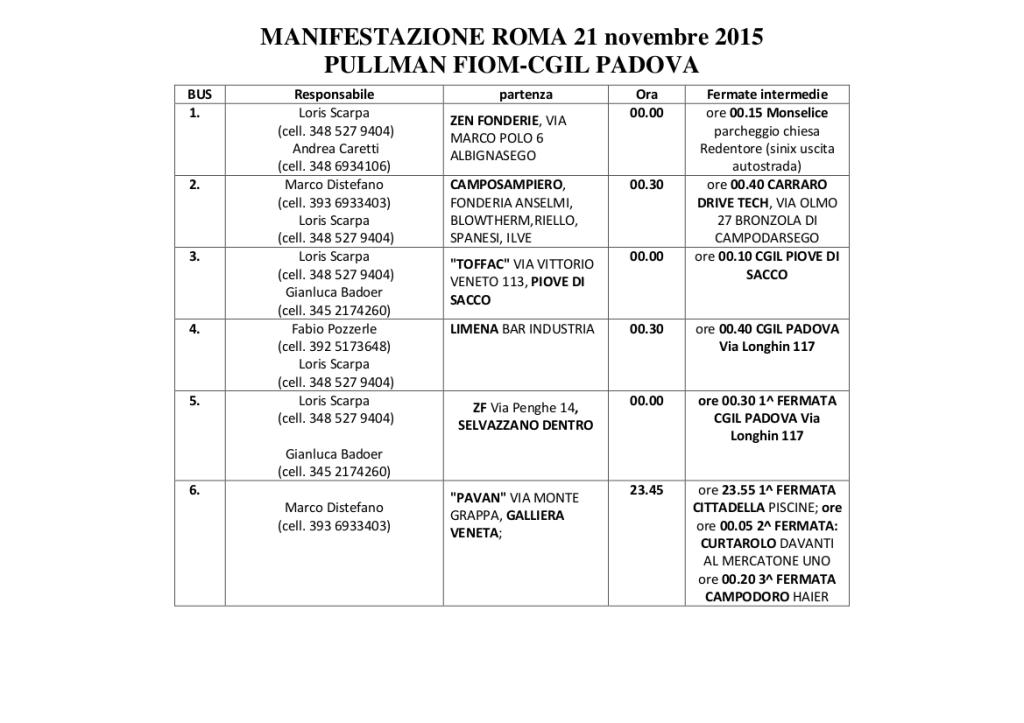 prospetto pullman  Roma 21.11.2015