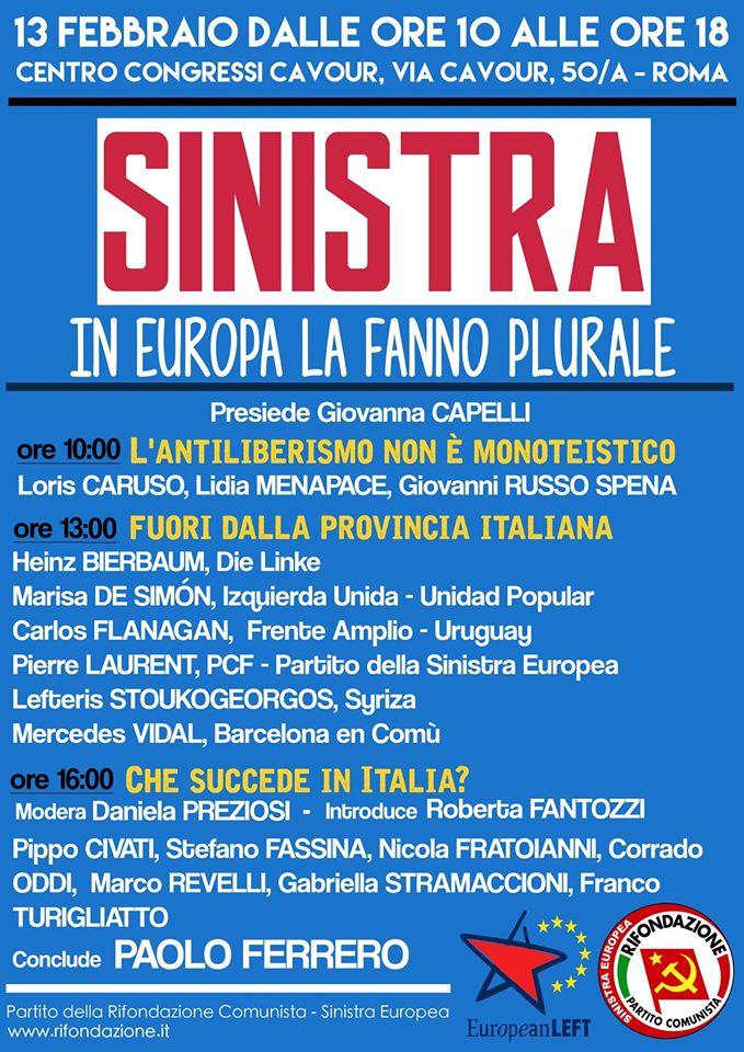 Sinistra. In Europa la fanno plurale - convegno a Roma 13febbraio2016