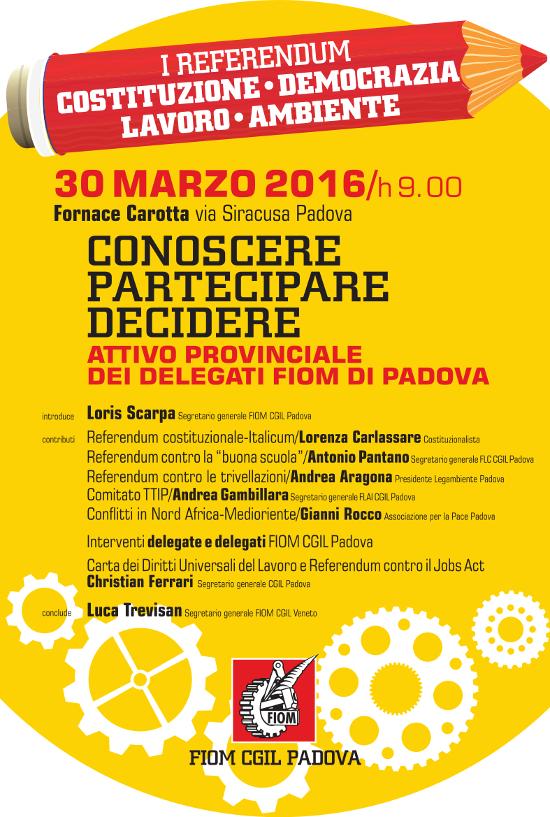 Locandina Attivo FIOM Padova  30.03.2016