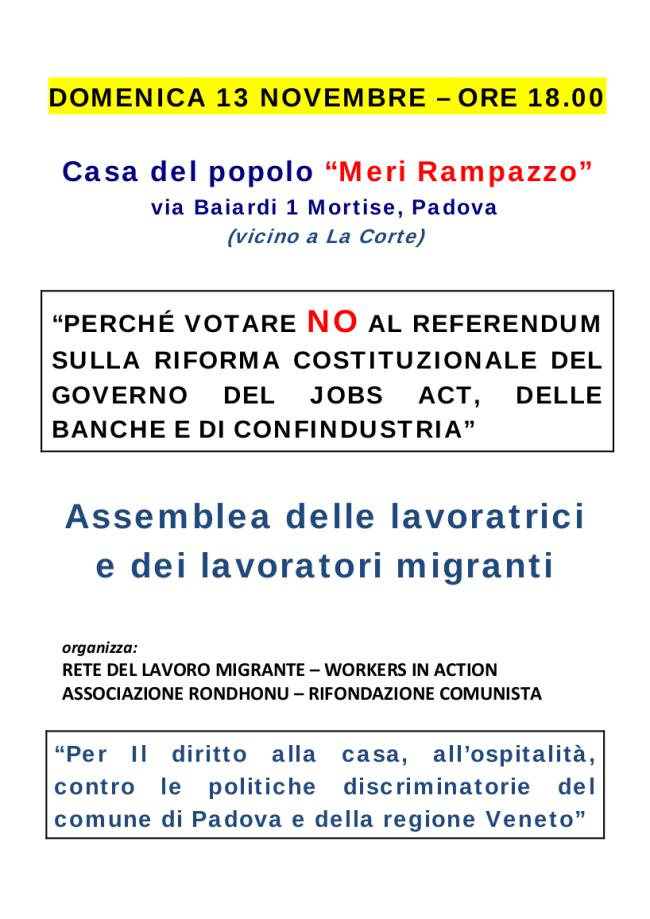 Domenica 13 Novembre - Assemblea migranti