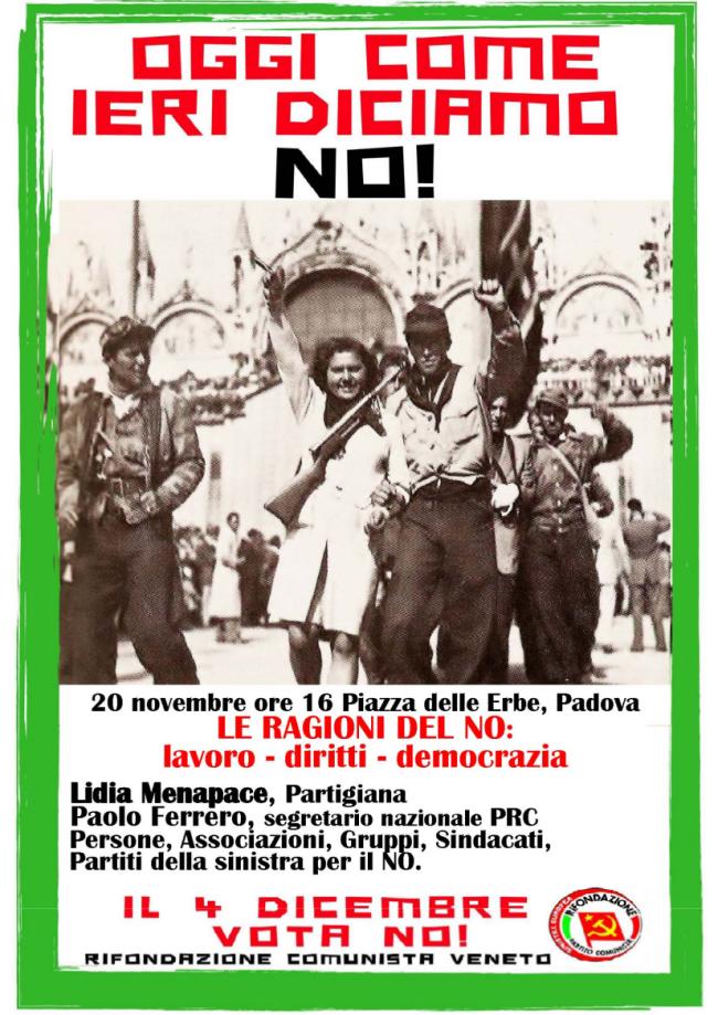 Ferrero a Rovigo e a Padova per il NO-1