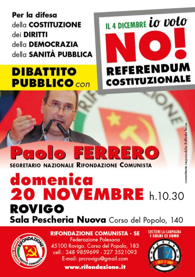 Ferrero a Rovigo e a Padova per il NO
