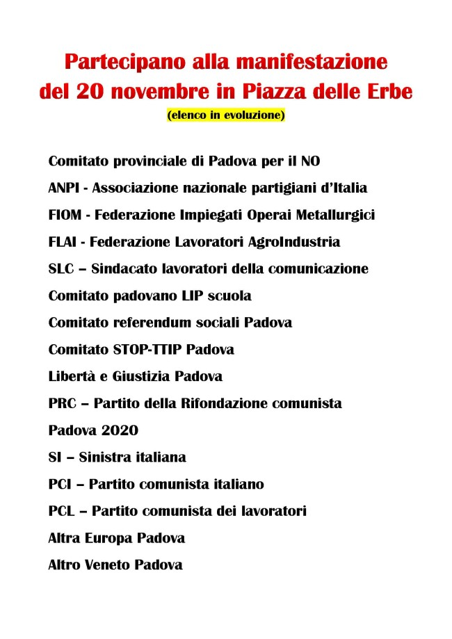 Partecipano alla manifestazione del 20 novembre in Piazza delle Erbe