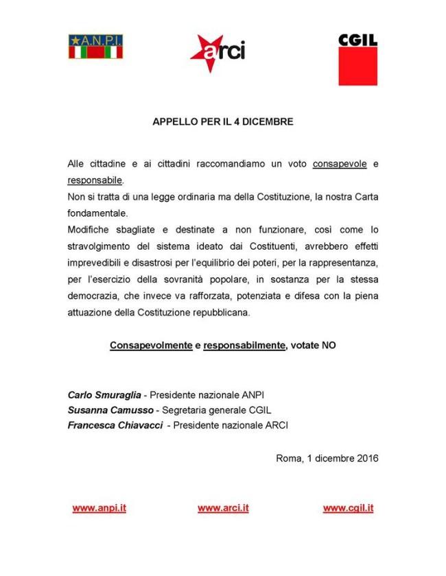 Appello unitario ANPI-ARCI-CGIL