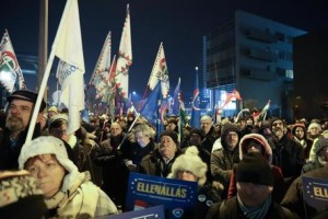 Rally held against the government in front of the headquarters of the public broadcaster MTVA