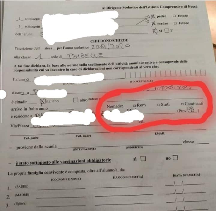 modulo-scuola-Fossò-discriminazione-etnia-rom