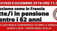 . . 5 dicembre 2019 – Rifondazione Comunista in piazza a sostegno dello sciopero generale in Francia contro la riforma Macron del sistema pensionistico e per abrogare in Italia la […]