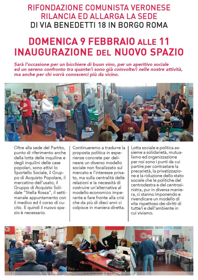 inaugurazione sede Prc di Verona