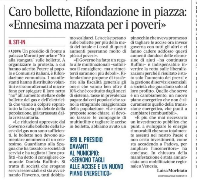 Gazzettino Padova bollette 3 ottobre 2021